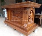 Meja Altar Ukiran Relief Perjamuan Dan Malaikat